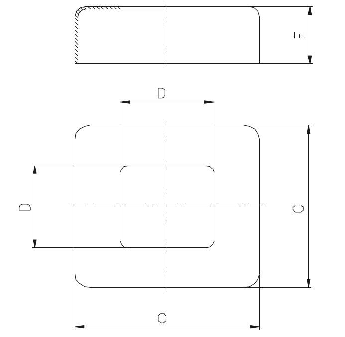 KDPR - Kare Pres Rozet (60x60) Teknik Çizim