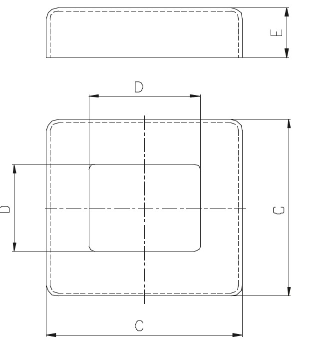 KDPR - Kare Pres Rozet (82x82) Teknik Çizim