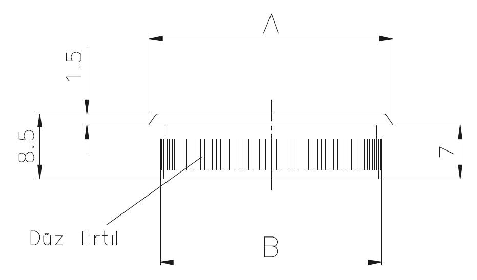 DTK - Dolu Tırnaklı Kapak Teknik Çizim