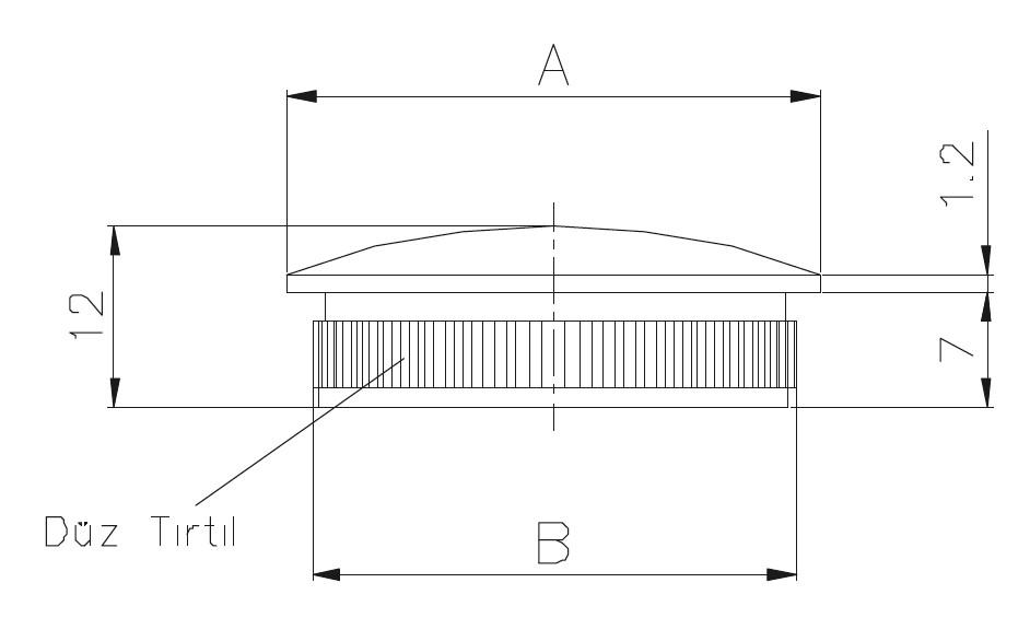 DTKB - Dolu Tırnaklı Kapak Bombeli Teknik Çizim