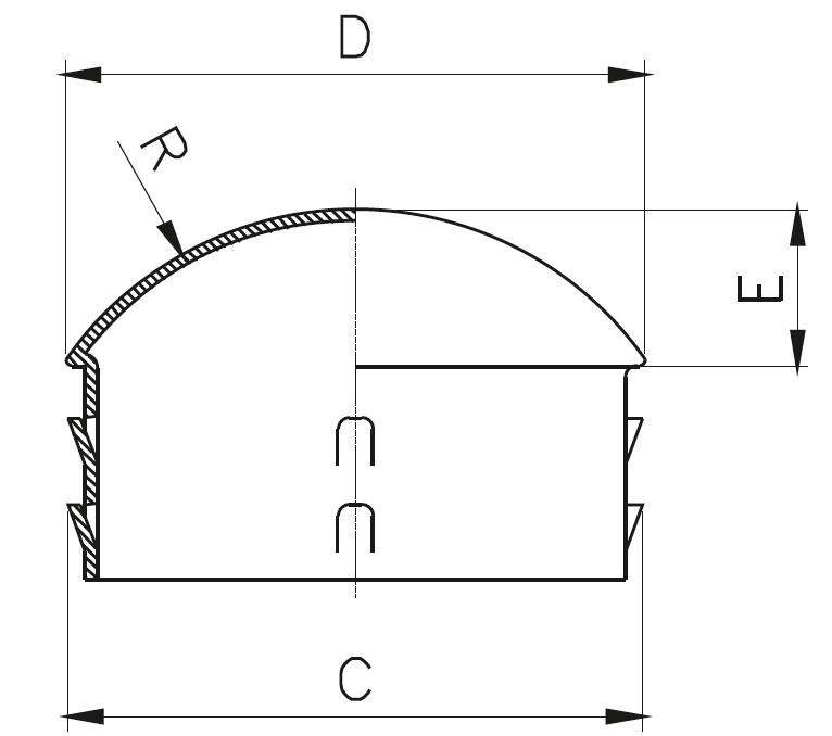 TKB - Tırnaklı İçe Geçme Kapak ( Bombeli ) Teknik Çizim
