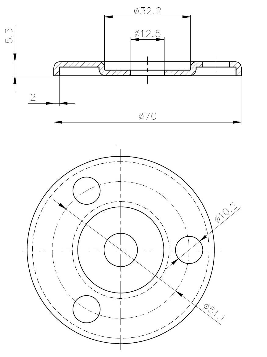 BSF - Bükümlü Sac Flanş Teknik Çizim