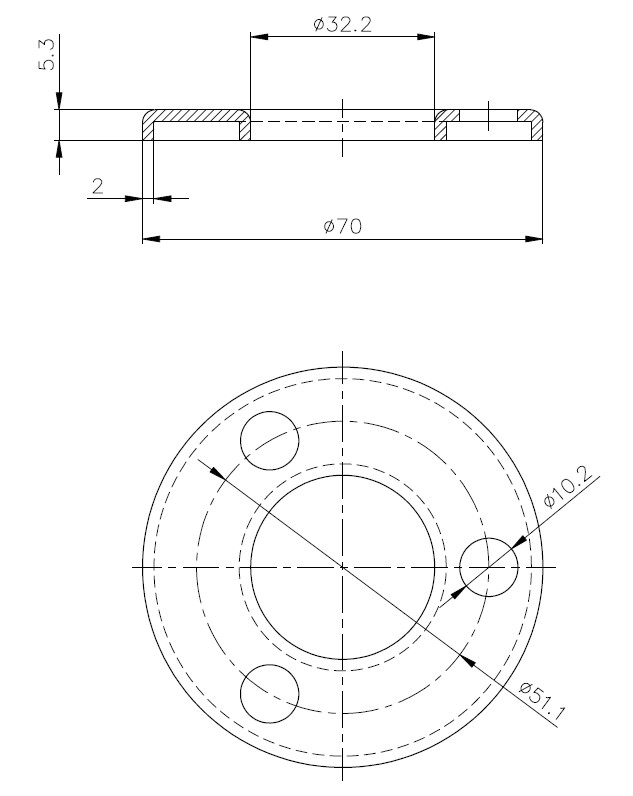 BF - Curved Flange Teknik Çizim