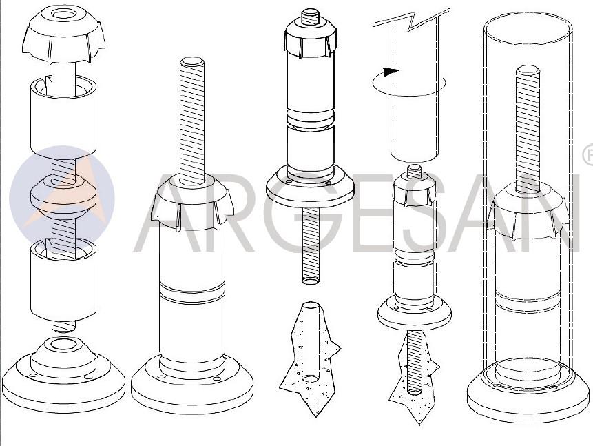 ASPA - Ayarlı Saplamalı Plastik Ankaraj Teknik Çizim