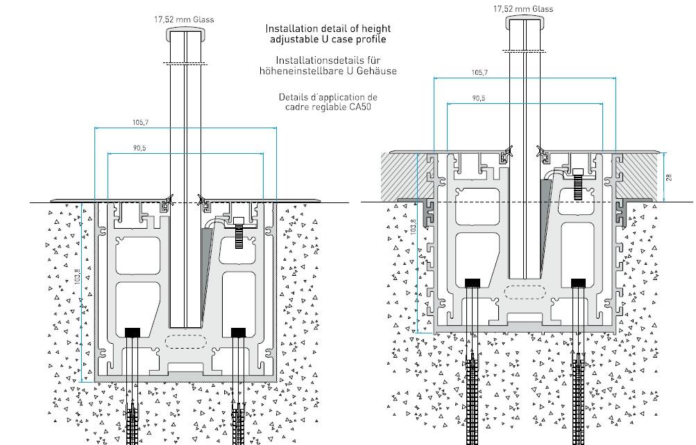 CA50 Zemin İçi Cam Korkuluk Sistemi Teknik Çizim
