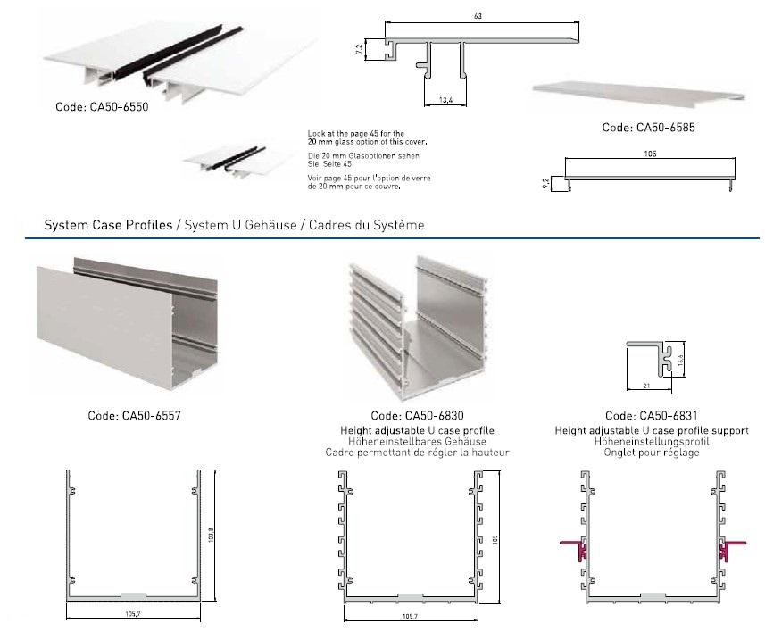 CA50 In Floor Glass Supporting System Teknik Çizim