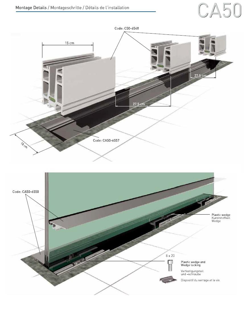 CA50 In Floor Glass Supporting System Teknik Cizim