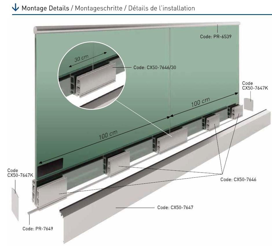 CX50 Cam Kanalı Korkuluk Sistemi Teknik Çizim