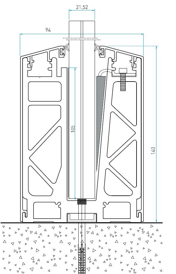AS50 Cam Kanalı Korkuluk Sistemi Teknik Çizim