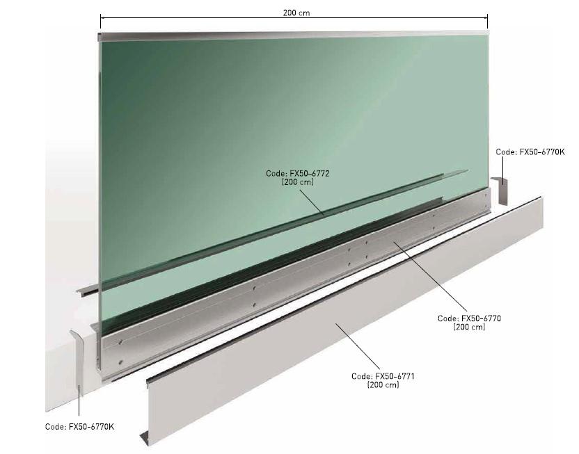 FX50 Alından Bağlantılı Cam Korkuluk Sistemi Teknik Çizim
