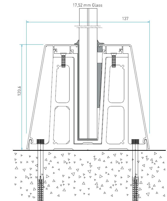 RS50 Cam Kanalı Korkuluk Sistemi Teknik Çizim