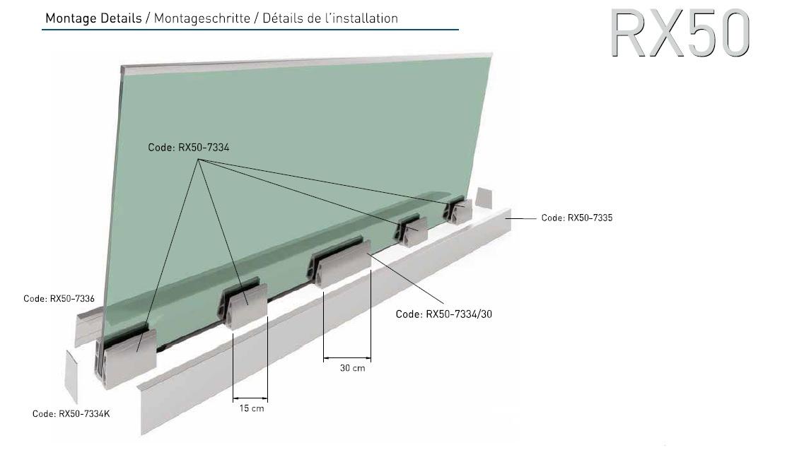 RX50 Cam Kanalı Korkuluk Sistemi Teknik Çizim