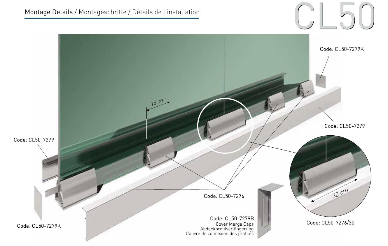 CL50 Cam Kanalı Korkuluk Sistemi Teknik Çizim