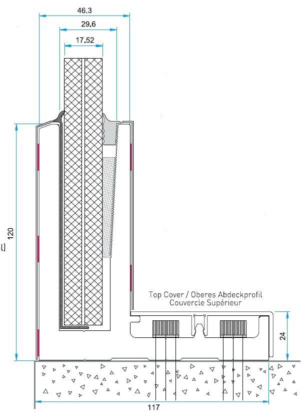 M50 Cam Kanalı Korkuluk Sistemi Teknik Çizim