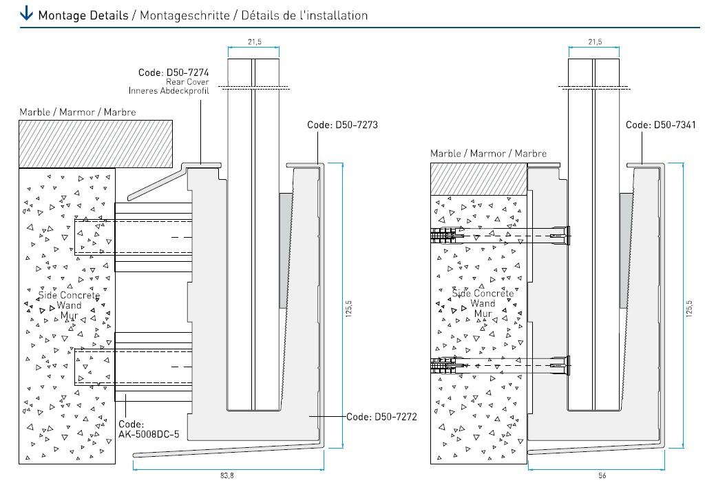 D50 Alından Bağlantılı Cam Korkuluk Sistemi Teknik Çizim
