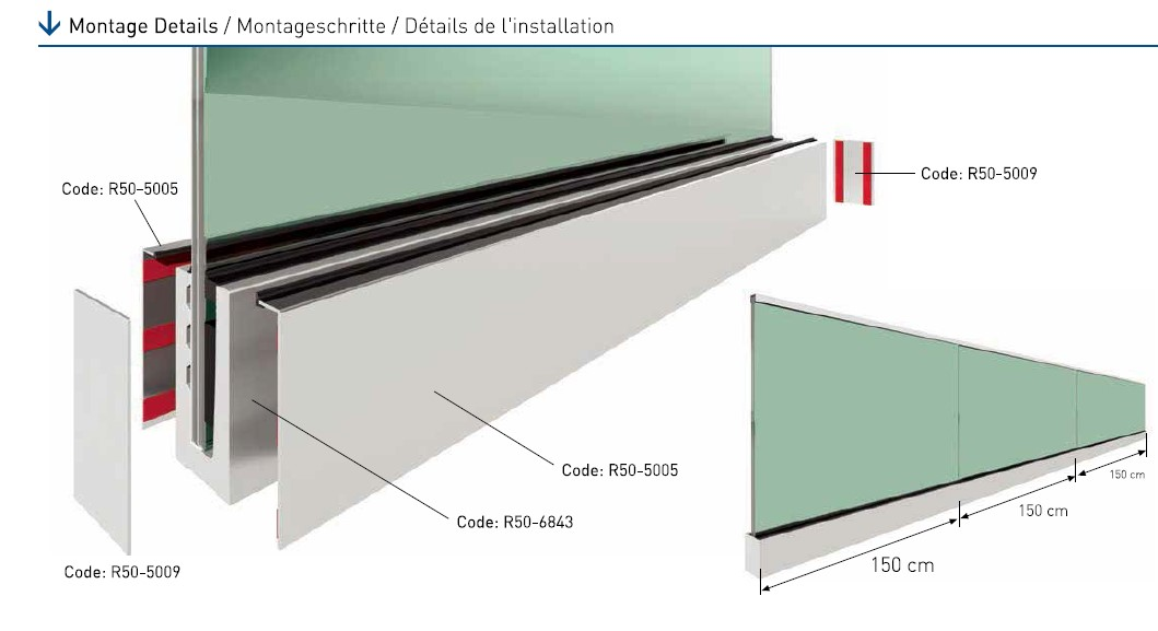 R50 On-Floor Glass Supporting System Teknik Çizim