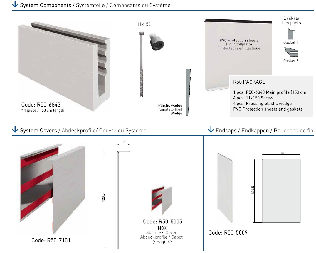 R50 Cam Kanalı Korkuluk Sistemi Teknik Çizim