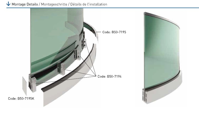 B50 Curved Glass Railing Support System Teknik Çizim