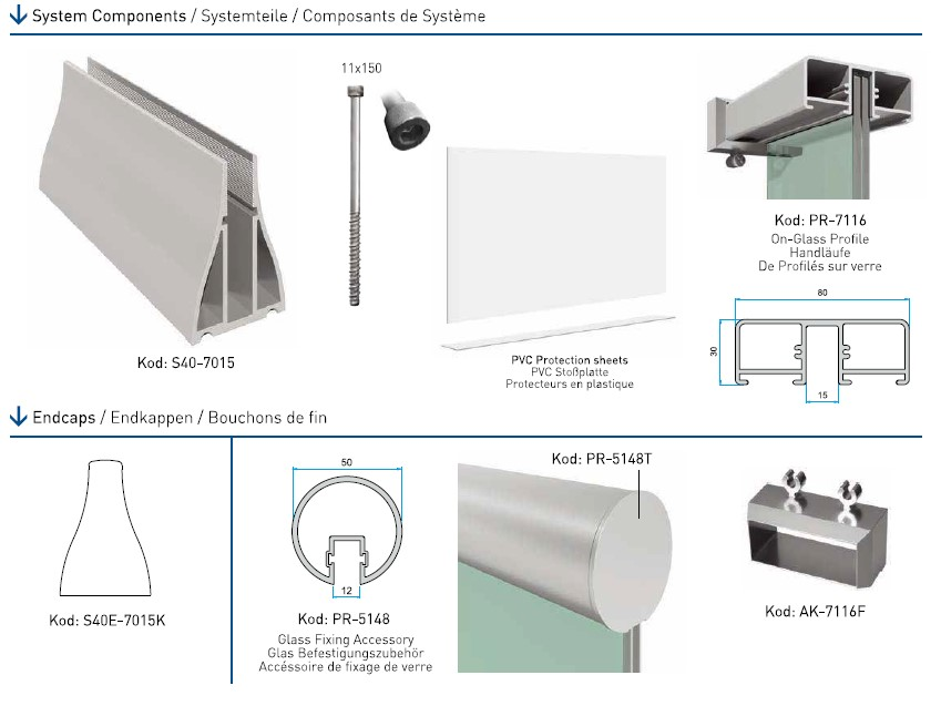 S40E Cam Kanalı Korkuluk Sistemi Teknik Çizim