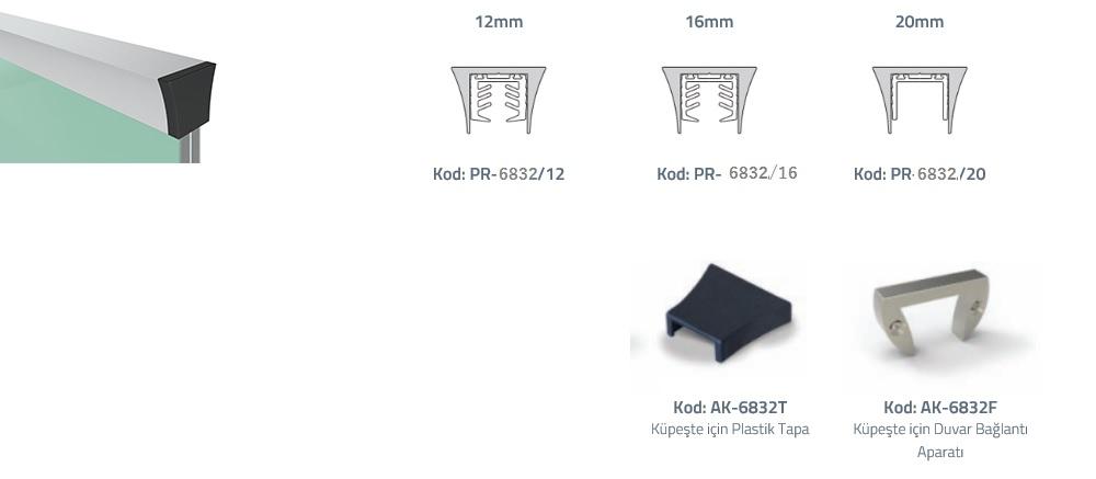 PR-6832 Cam Üstü Profil Teknik Çizim