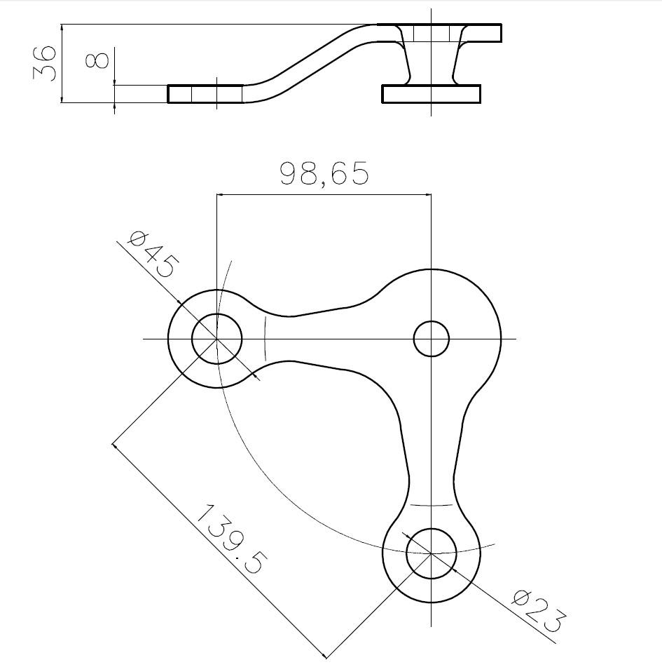 B-139,5 SPT-V / B Tipi Spider 2'li V Teknik Çizim