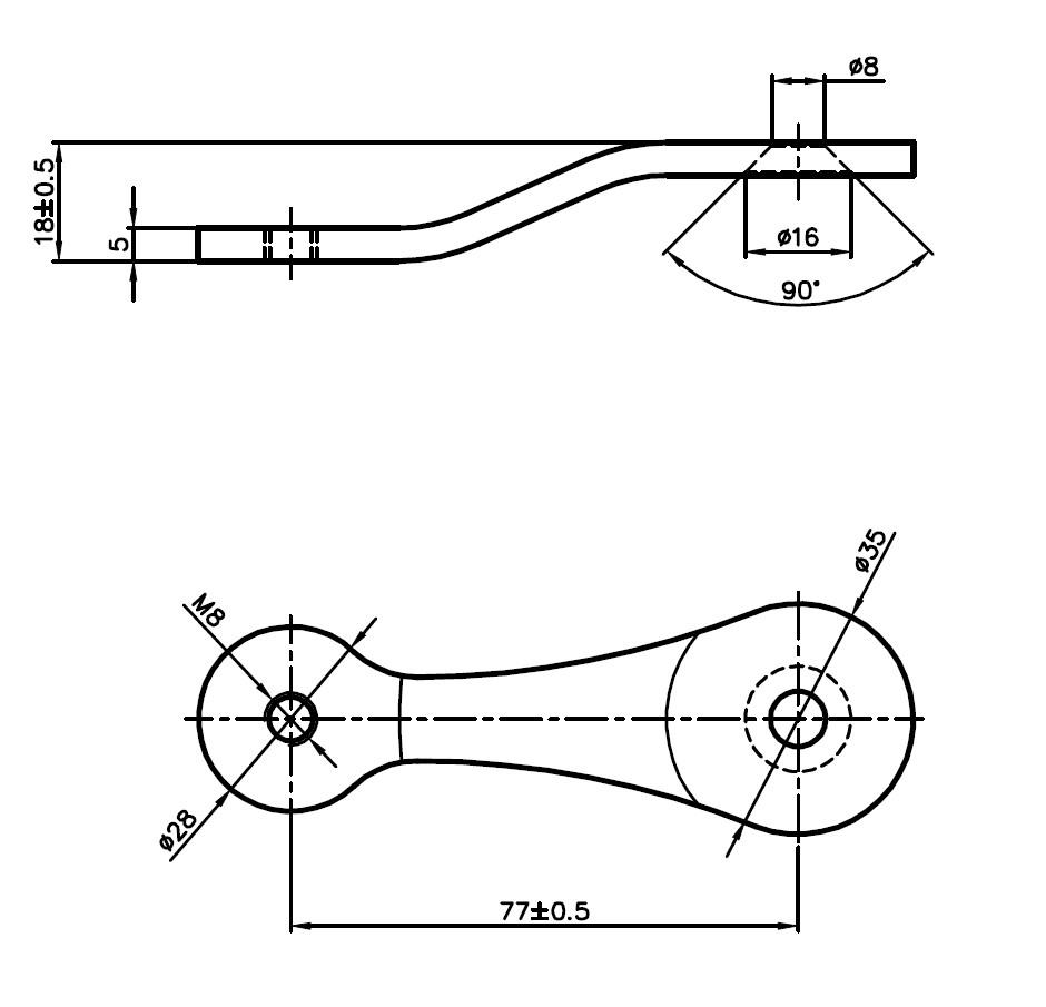 C-109 SPT-U1 / C Tipi Spider 1'li Uzun Teknik Çizim