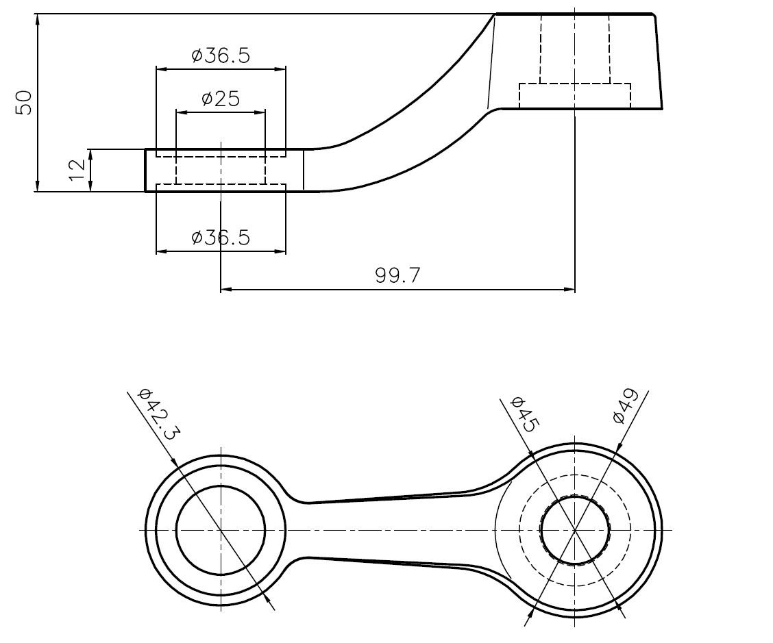 D-199 SPT-1 / D Tipi Döküm Spider 1'li Teknik Çizim