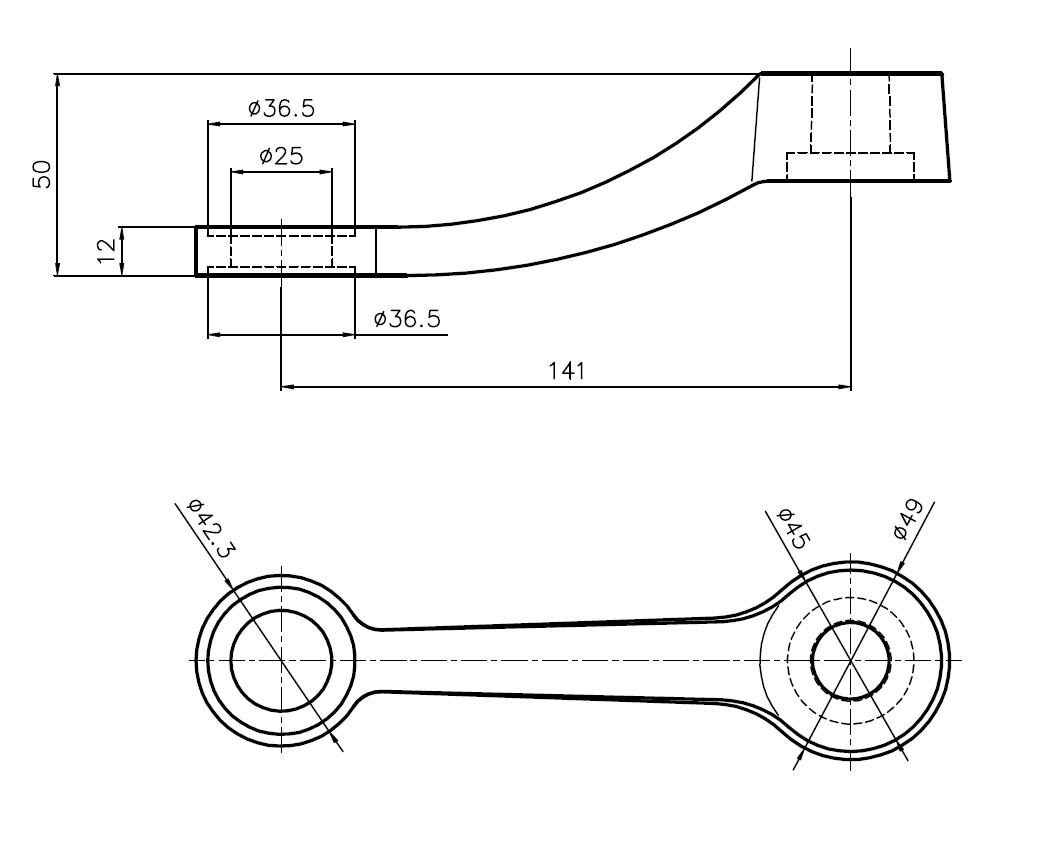 D-199 SPT-U1 / D Tipi Döküm Spider 1'li Uzun Teknik Çizim