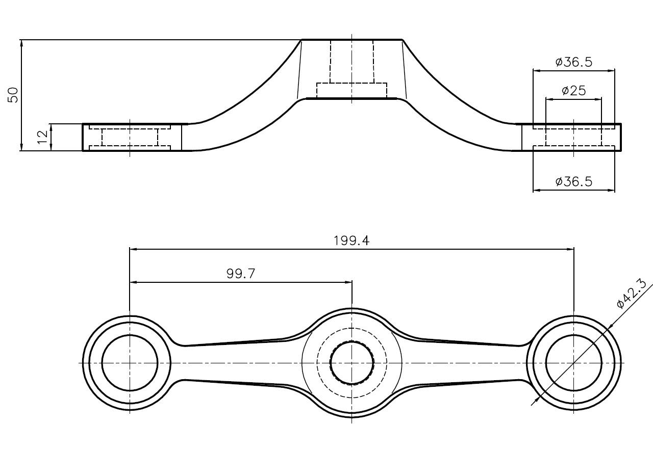 D-199 SPT-2 / D Tipi Döküm Spider 2'li Düz Teknik Çizim