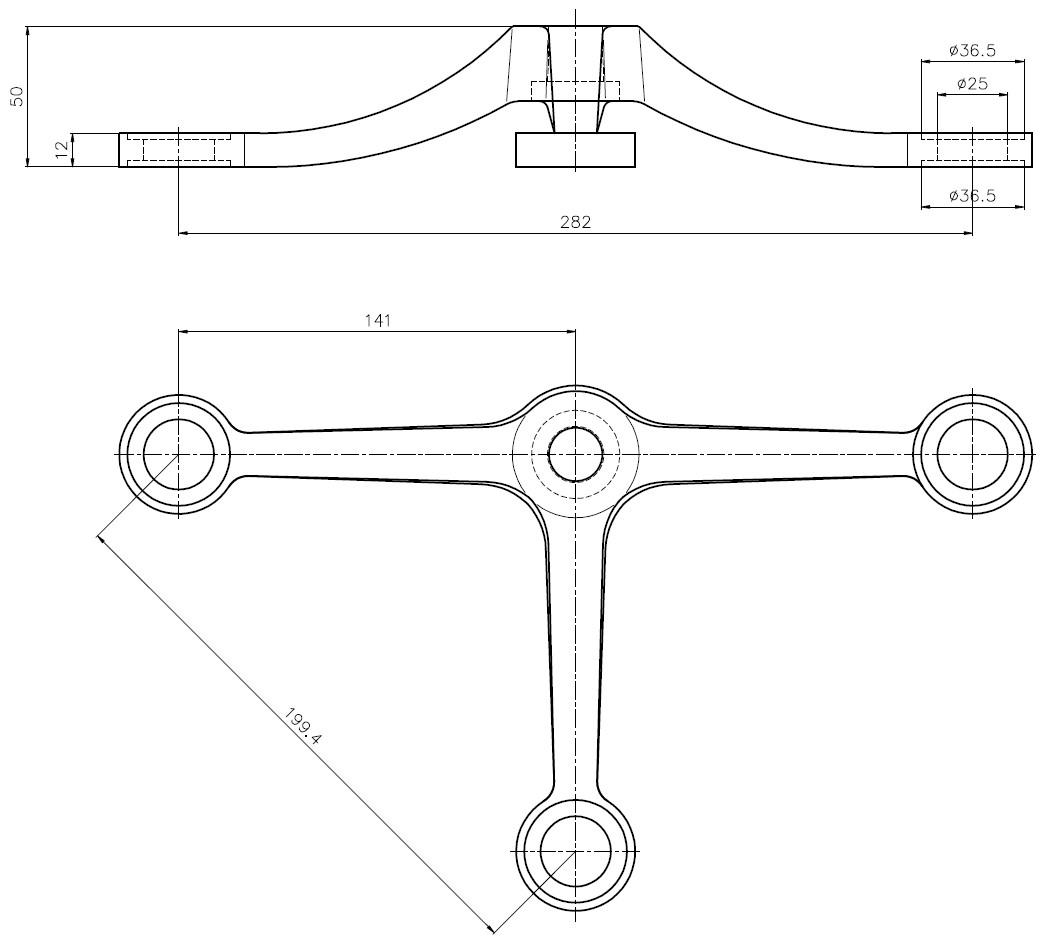 D-199 SPT-3 / D Tipi Döküm Spider 3'lü Teknik Çizim