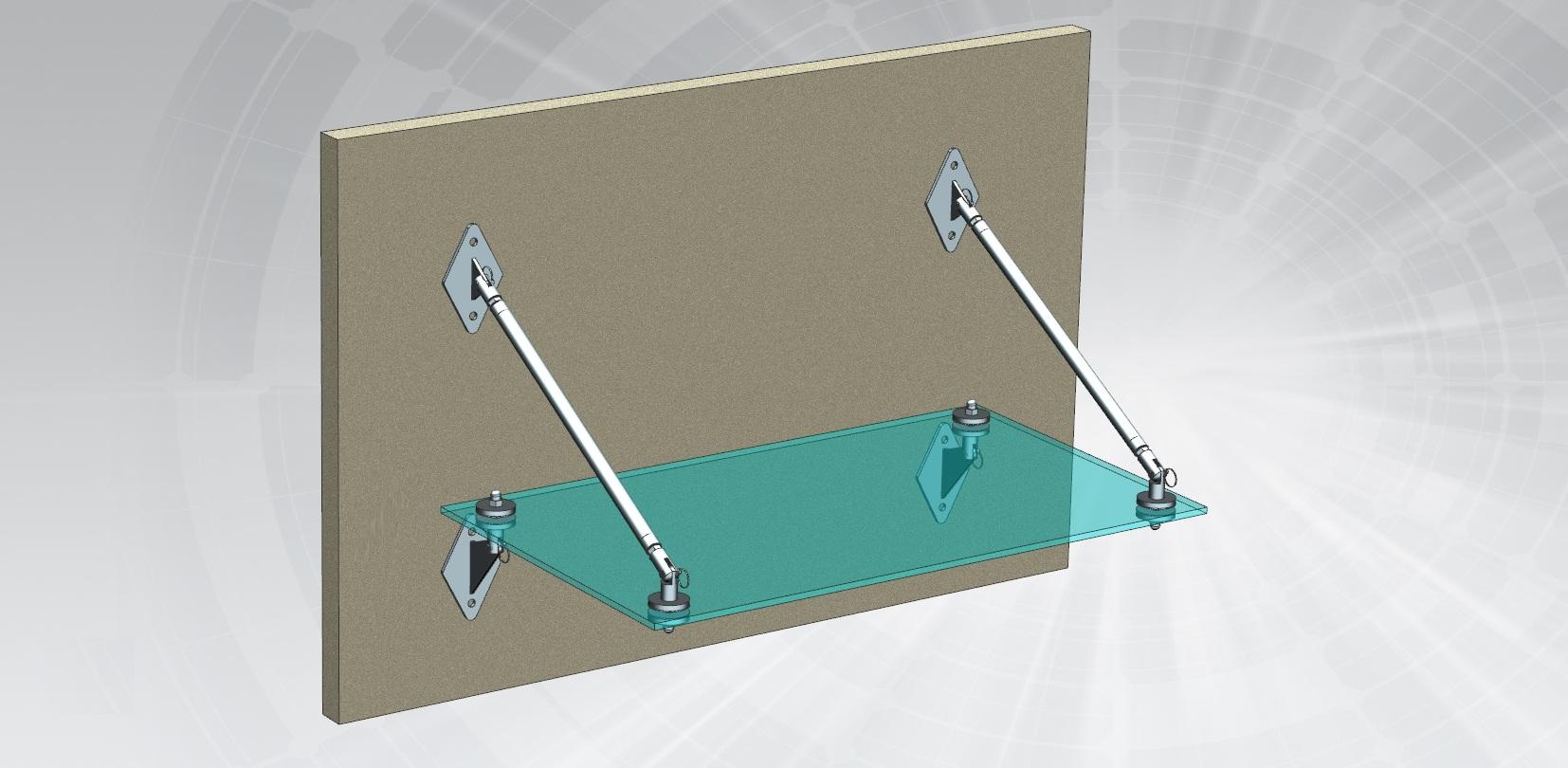 Kapı Giriş Üstü Cam Halat Gerdirme Sistemi Teknik Çizim
