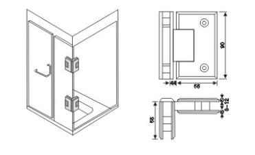 AR 4014 Cam Cama Köşe Menteşe Teknik Çizim