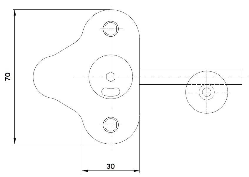 Kulplu WC Kilidi Teknik Çizim