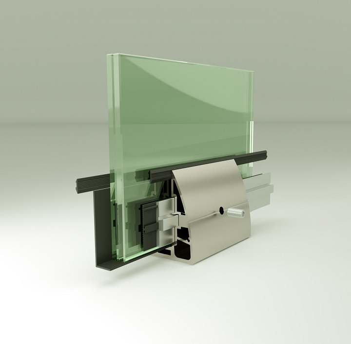 AR-60 On Floor Upstand Glass Supporting System Teknik Çizim